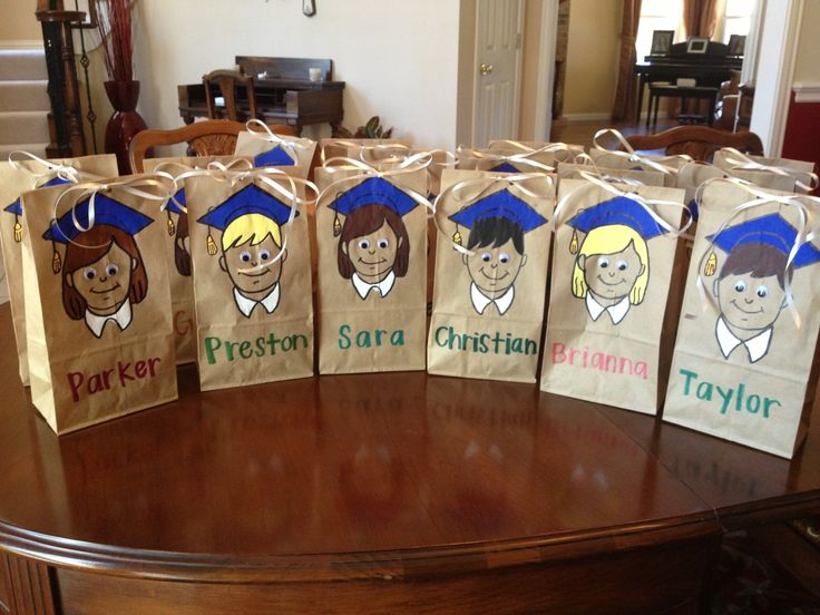 Easy Elementary School Graduation Goodie Bags--Cut out design, trace, and paint
