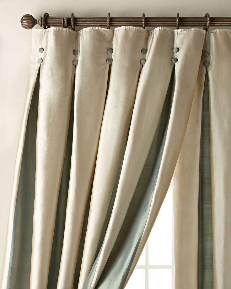 Amity Home Inverted Pleat Curtains, Ecru and Seafoam, contrasting ...