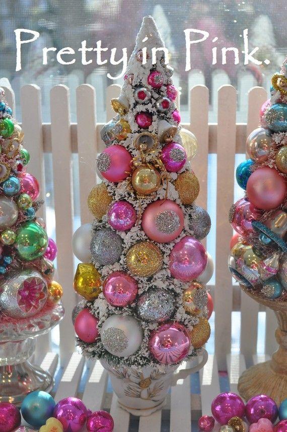 teacup bottle brush tree pink and gold glitter Christmas holiday bottle brush