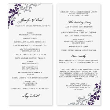 wedding program samples templates