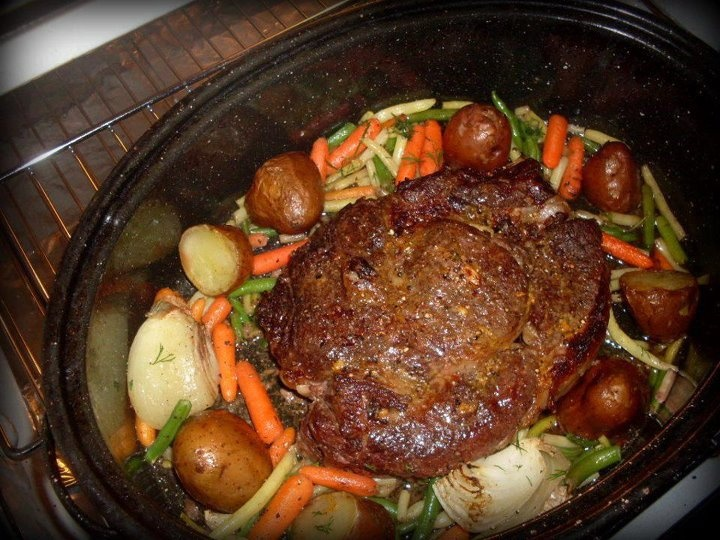 Delicious prime rib roast seasoned with: grainy dijon mustard, garlic ...