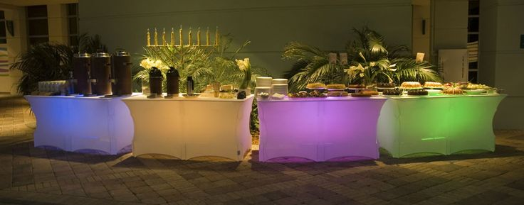 Lighted buffet tables for Ensemble table buffet