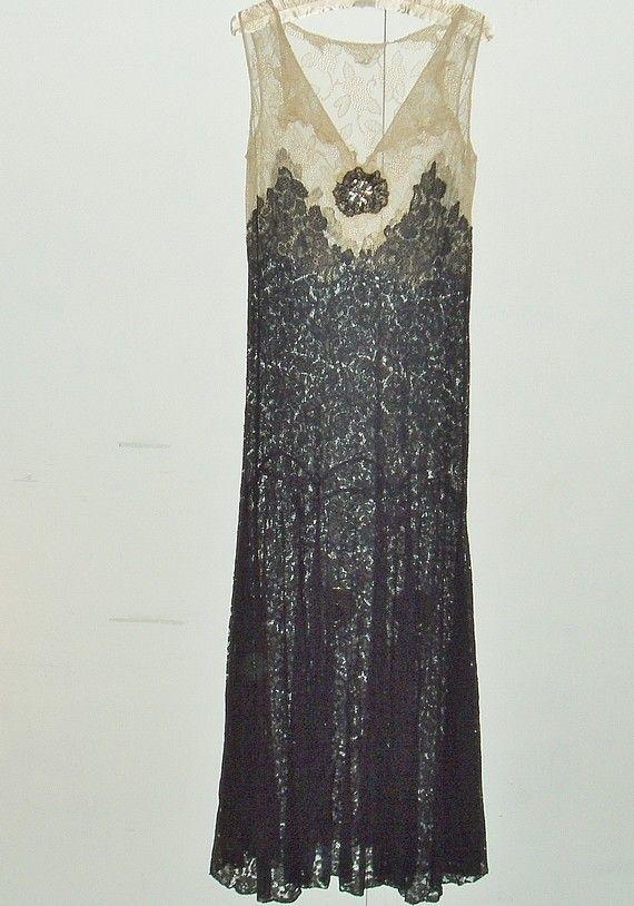 1920s 30s antique black drop waist lace dress