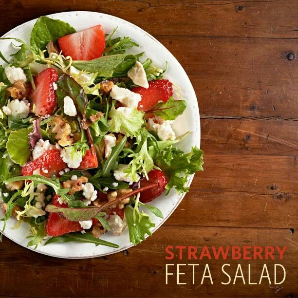 Strawberry Feta Salad. Add some grape tomatoes, red onions, walnuts ...