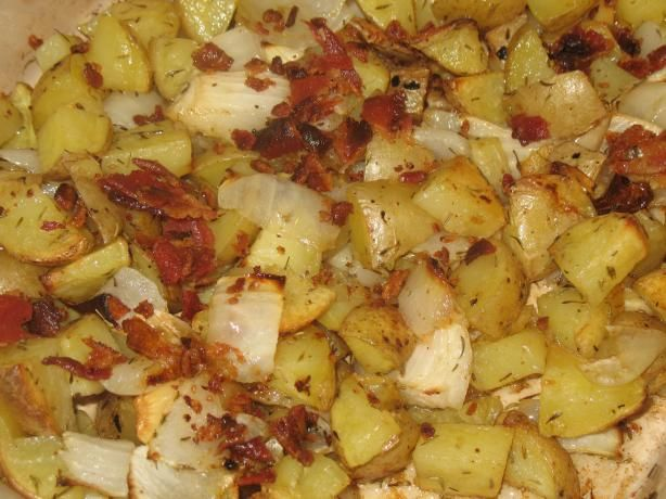 Yukon Gold Roasted Potatoes With Bacon, Onion and Garlic | Recipe