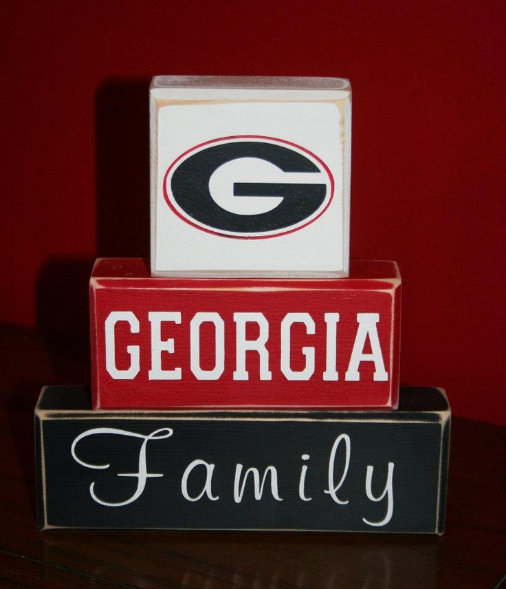 Hand Painted UGA Georgia Bulldogs Family Blocks. $22.00, via Etsy.