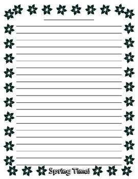 spring writing paper with lines