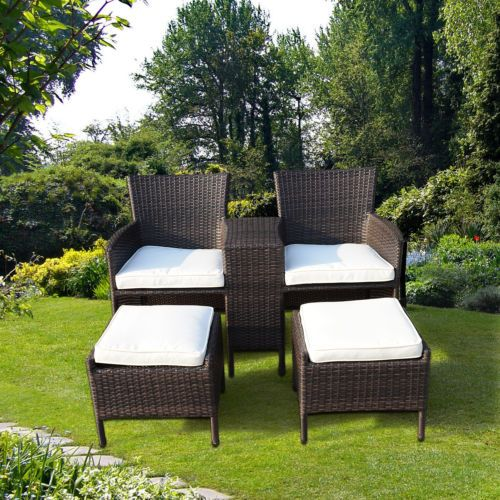 Outdoor log furniture - Companion Chair Sofa And Stool Set Outdoor Garden Patio Furnit