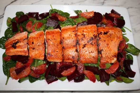 Seared Wild Salmon with Beet, Blood Orange and Spinach Salad (and an ...