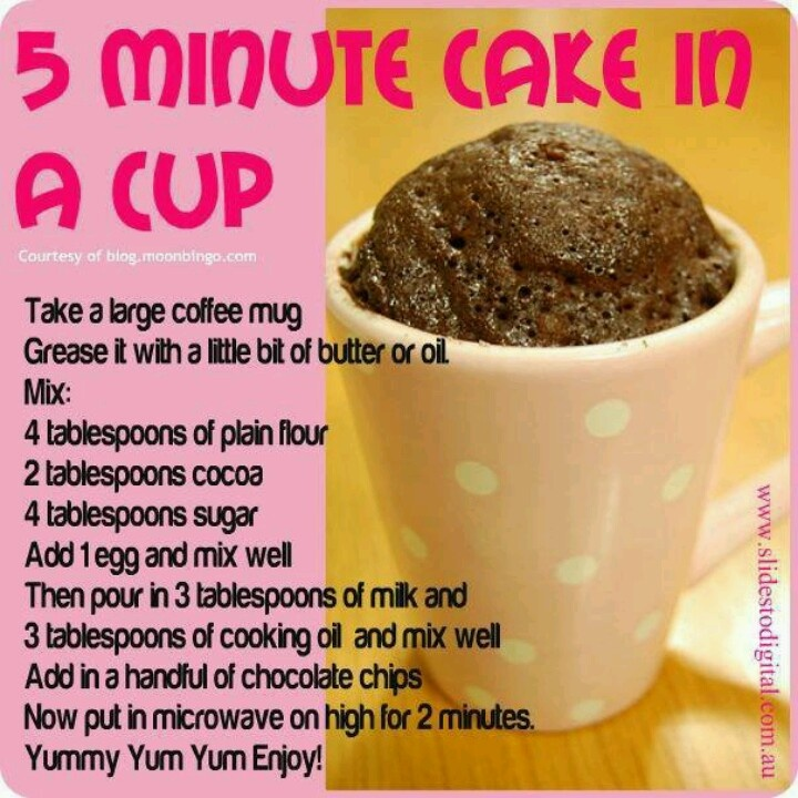 Cake in a cup yummy recipes pinterest for Recipe for cake in a cup in the microwave