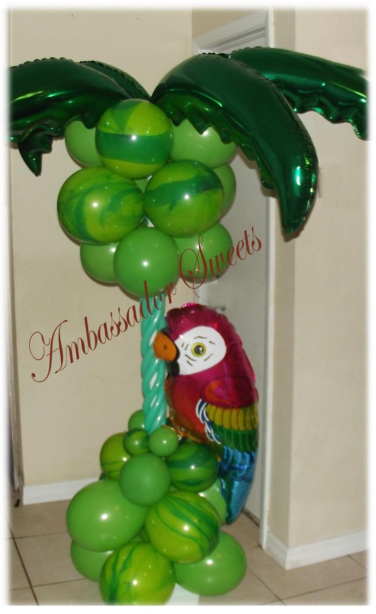 Tropical balloon column balloon columns pinterest for Balloon column decoration