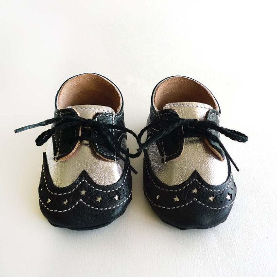 baby boy or shoes black and silver leather soft sole