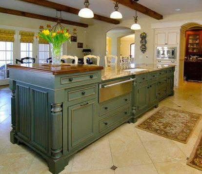 Country Green Kitchen House Beautiful Pinterest