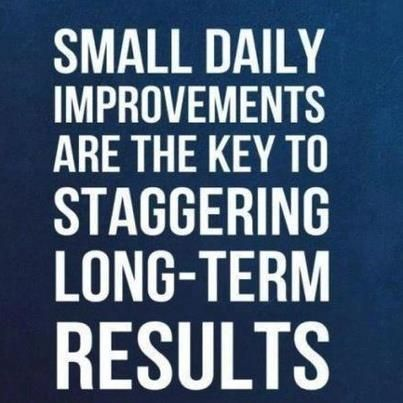 Small daily improvements are the key to staggering long term results.
