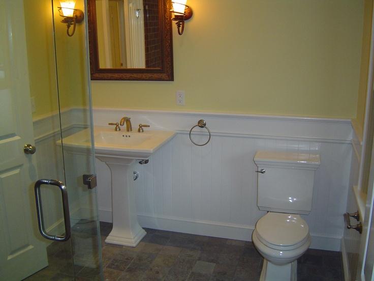 Slate Bathroom Sink : Slate floor with ped sink and beadboard My new downstairs bathroom ...