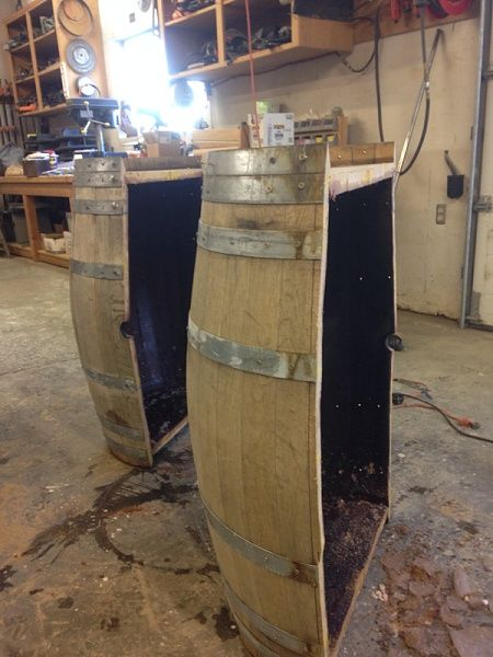 Wine whiskey barrel table plans tips misc pinterest for How to make a wine barrel bar