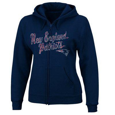 New England Patriots Women's Football Classic Full Zip Hoodie - Navy
