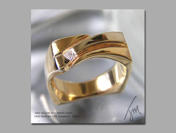 Custom Mens Yellow And White Gold Ring
