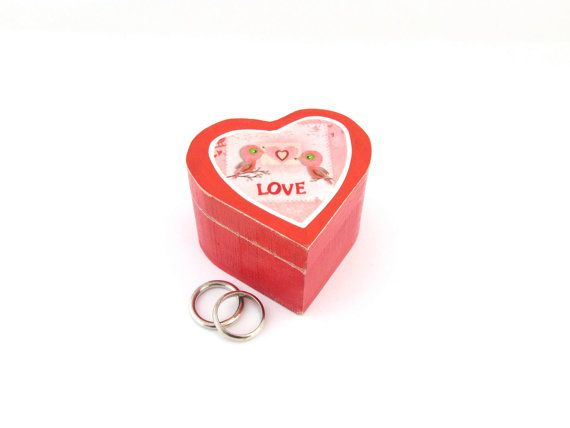 Heart Shaped Wooden Ring Box