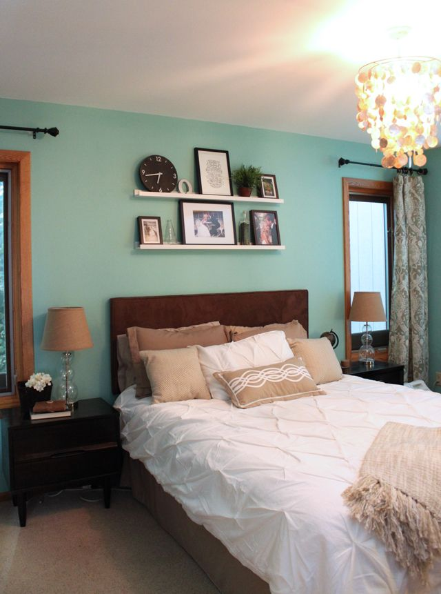 Master bedroom a light green teal wall home style pinterest Master bedroom light blue walls