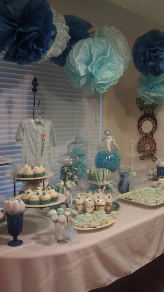 Baby boy shower love the colors table layout via i for Baby shower decoration ideas pinterest