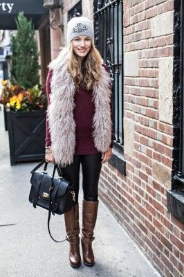 fur vest, leather leggings, boots