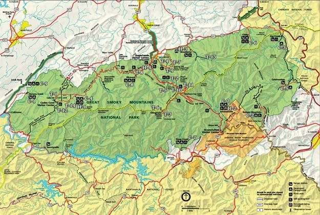 Great Smoky Mountains Park Map  Tennessee  Pinterest