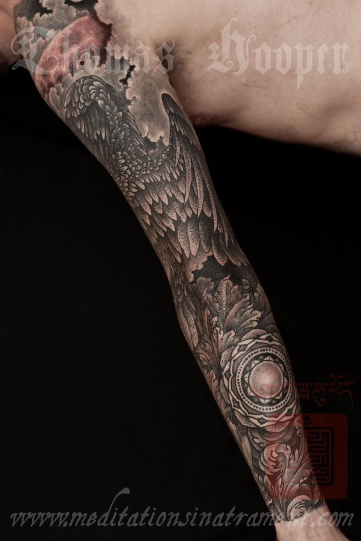 Pin eagle and acanthus leaf sleeve tattoo by thomas for Eagle sleeve tattoo