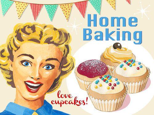 Home Baking Retro Metal Sign Mid 20th Century Kitchen Decor Yummy C