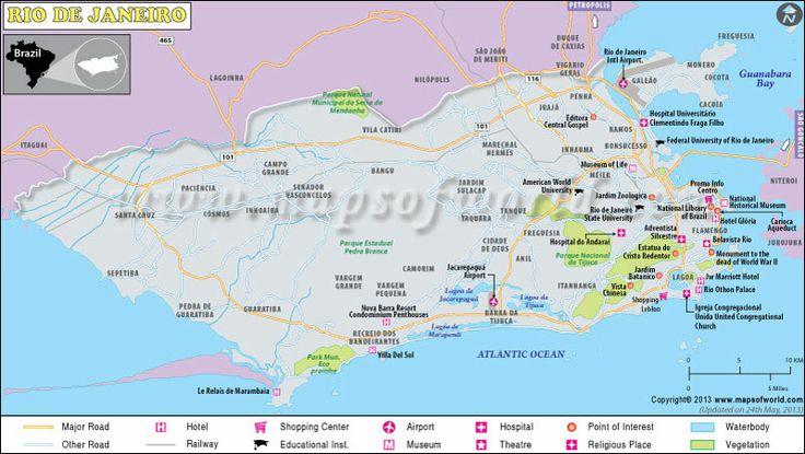 Rio De Janeiro Map Maps Pinterest