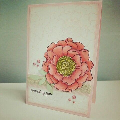 First use of Blendabilities. Love the matching coloured bling!! Blended Blossom stamp, Stampin Up, Chlo's Craft Closet.