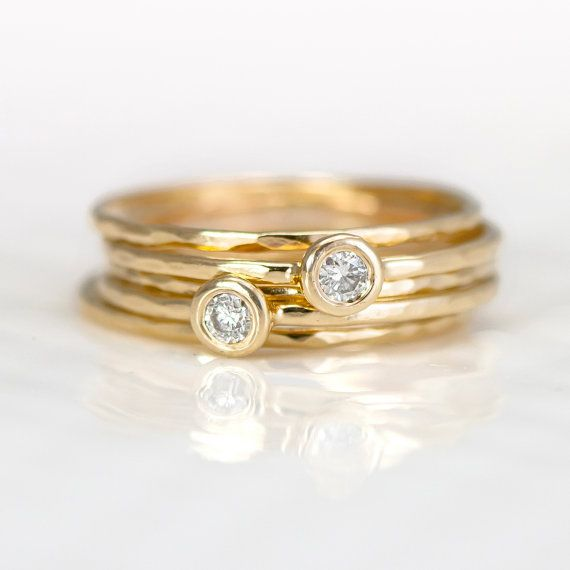 14k gold stacking rings set of five hammered