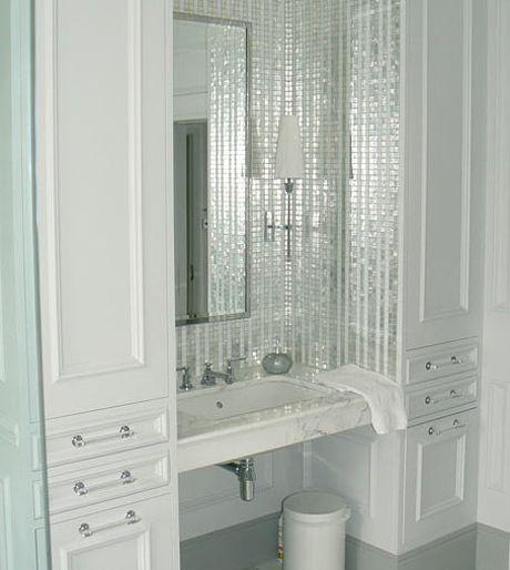 Silver tile vanity backsplash small bath pinterest for Silver sparkle bathroom mirror