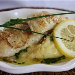 Pan-Roasted Halibut Cheeks with Chive Oil on Truffled Mashed Yukon ...