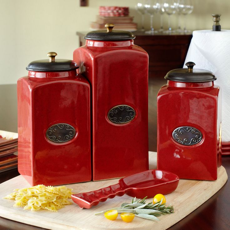red ceramic canisters decorating pinterest