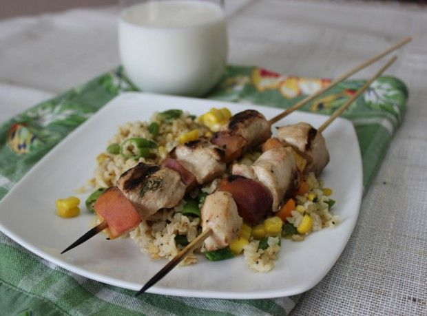 Garlic Mustard Glazed Chicken Kabobs with Peaches | FBC Member Food ...
