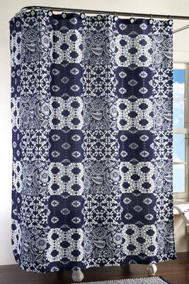 Westbrook navy amp white bathroom shower curtain