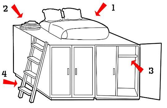 Loft Bed with Storage 540 x 352