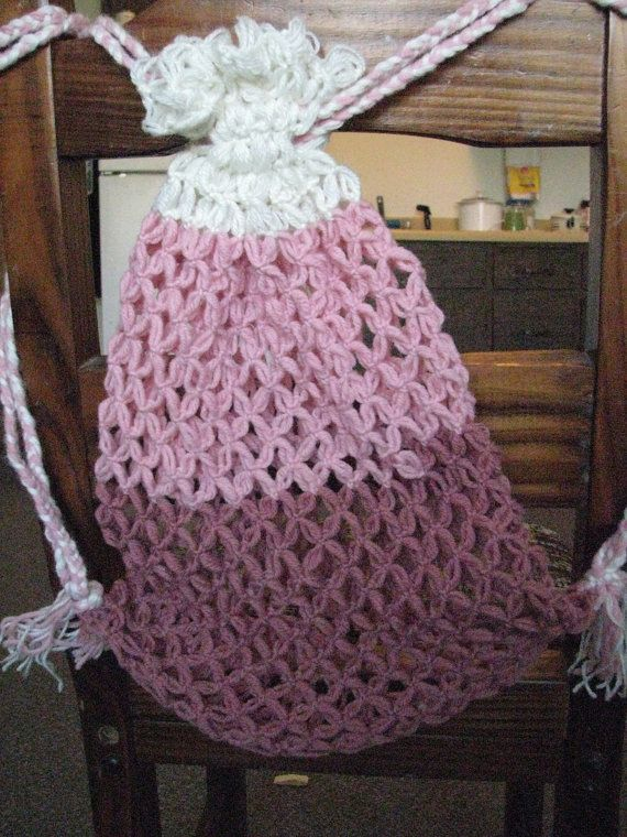 Pink and White Drawstring Crocheted Net Grocery or Beach Bag