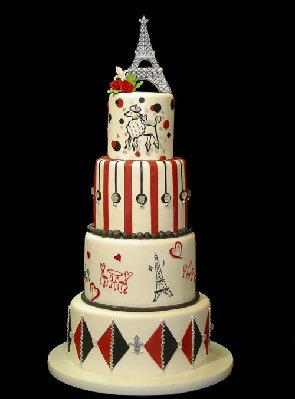 Eiffel Tower Cake with Stencil Art | Stencils | Pinterest
