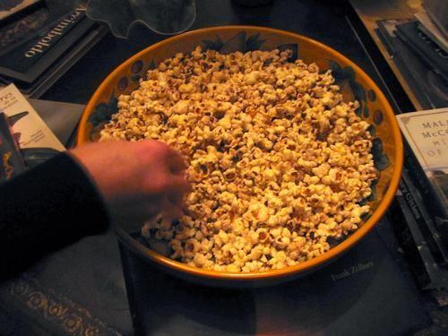 air popped popcorn spread popcorn on large baking pan lightly coat ...