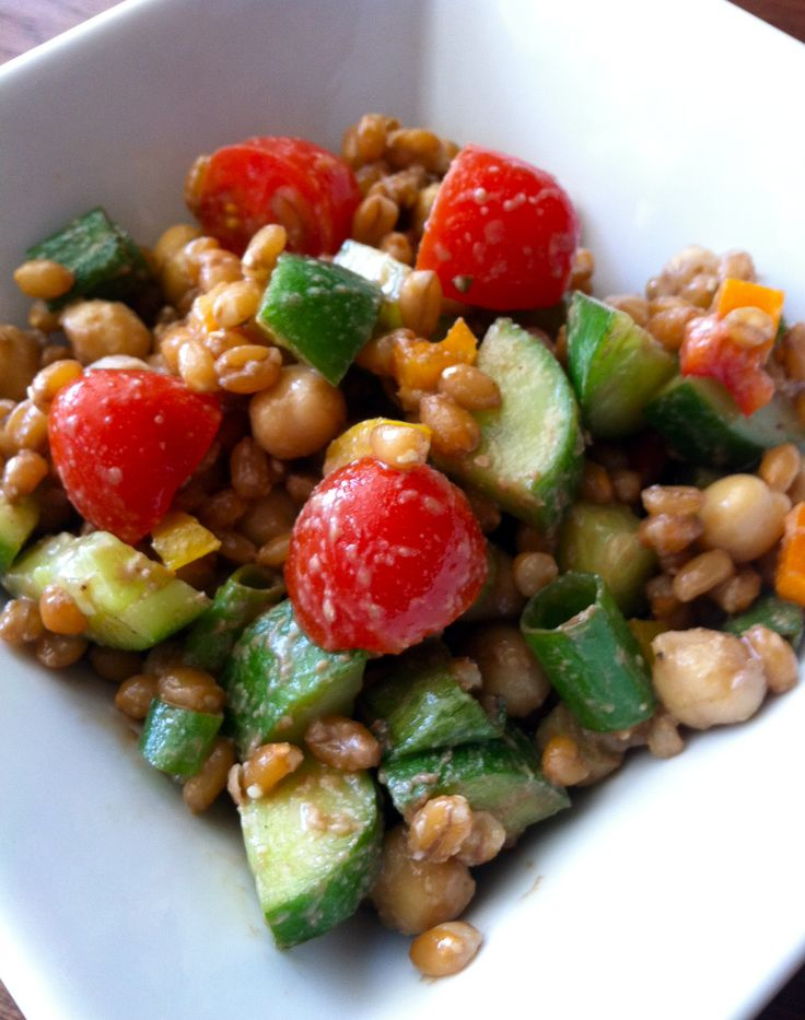 Oh She Glows Back on Track Wheat Berry and Bean Salad #vegan, #salad ...