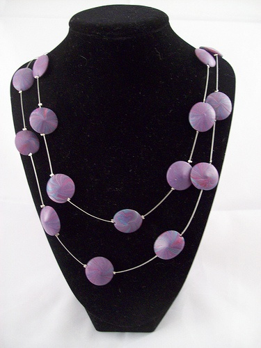 Double Necklace with Purple Swirl Polymer Clay Beads - www