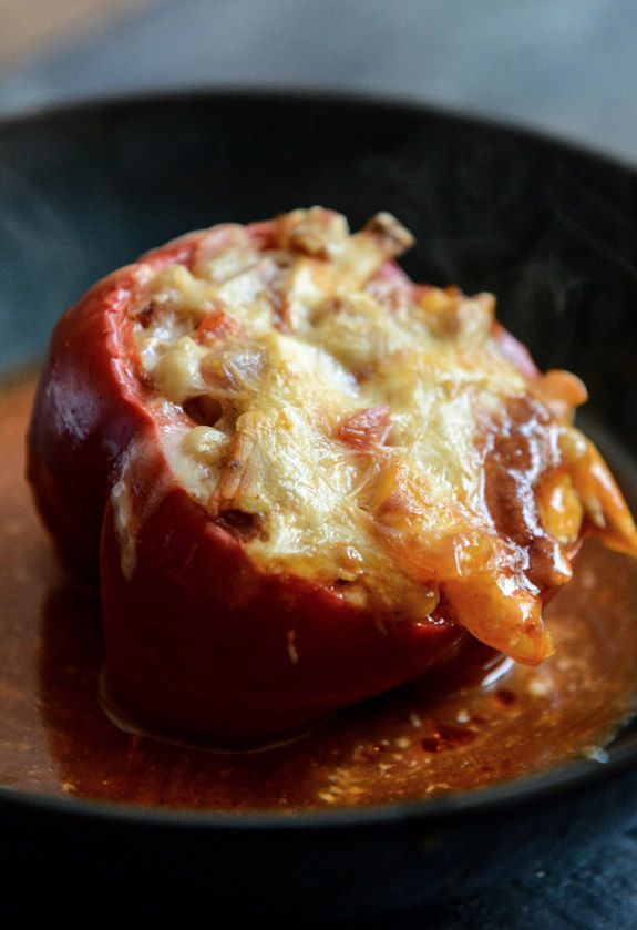 White Bean + Chicken Enchilada Stuffed Peppers | howsweeteats.com