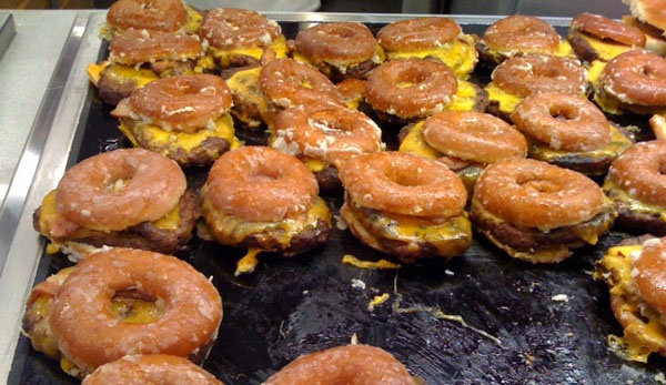 krispy creme bacon cheeseburger. can't wait to eat one of these.