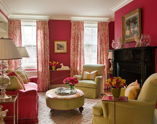 In this formal hot pink living room lime green blends well for heft