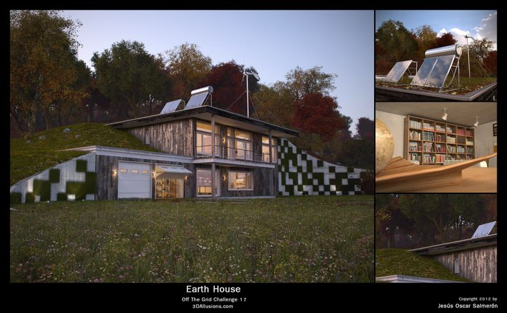 Stylized two story earth sheltered home earth bermed for Earth bermed homes