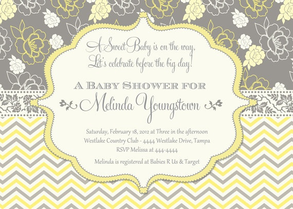 baby shower invitation yellow and grey by shutterbugsentiments