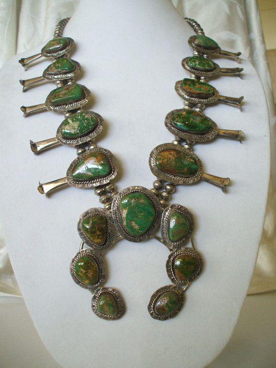 Huge Vintage NAVAJO Sterling & KING'S MANASSA Turquoise Squash Blossom Necklace.   TurquoiseKachina, $1289.00