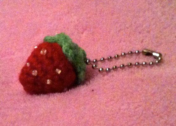 Tiny Crochet Amigurumi Strawberry Ball Chain by ...
